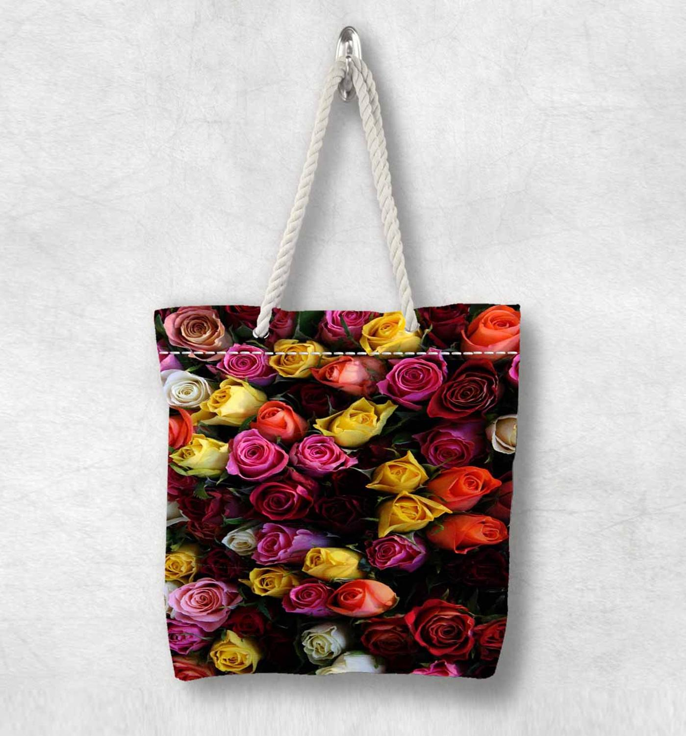 Else Orange Yellow Pink Roses Flowers New Fashion White Rope Handle Canvas Bag Cotton Canvas Zippered Tote Bag Shoulder Bag
