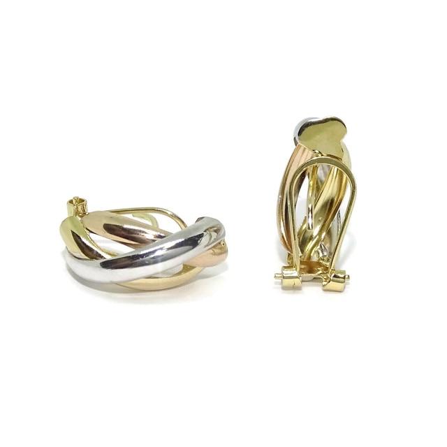 Bonitos y vistosos pendientes medios aros tricolor de oro amarillo, blanco y rosa de 18k con cierre omega 4