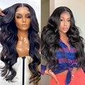 Wigirl 28 30 32 дюймов объемная волна 13x4 Синтетические волосы на кружеве парики из натуральных волос бразильский океанская волна парики предвари...