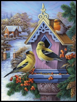 Goldfinches and First  - Counted Cross Stitch Kits - DIY Crafts Handmade Needlework Embroidery 14 ct Cross Stitch Sets DMC Color