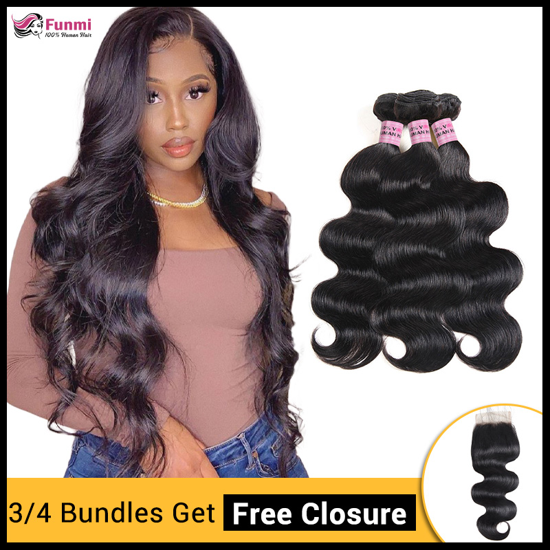 Buy 3/4 Hair Bundles Get Free Closure Body Wave Bundles 100% Human Hair Bundles Indian Hair Weave Bundles 8'-28' Funmi Hair