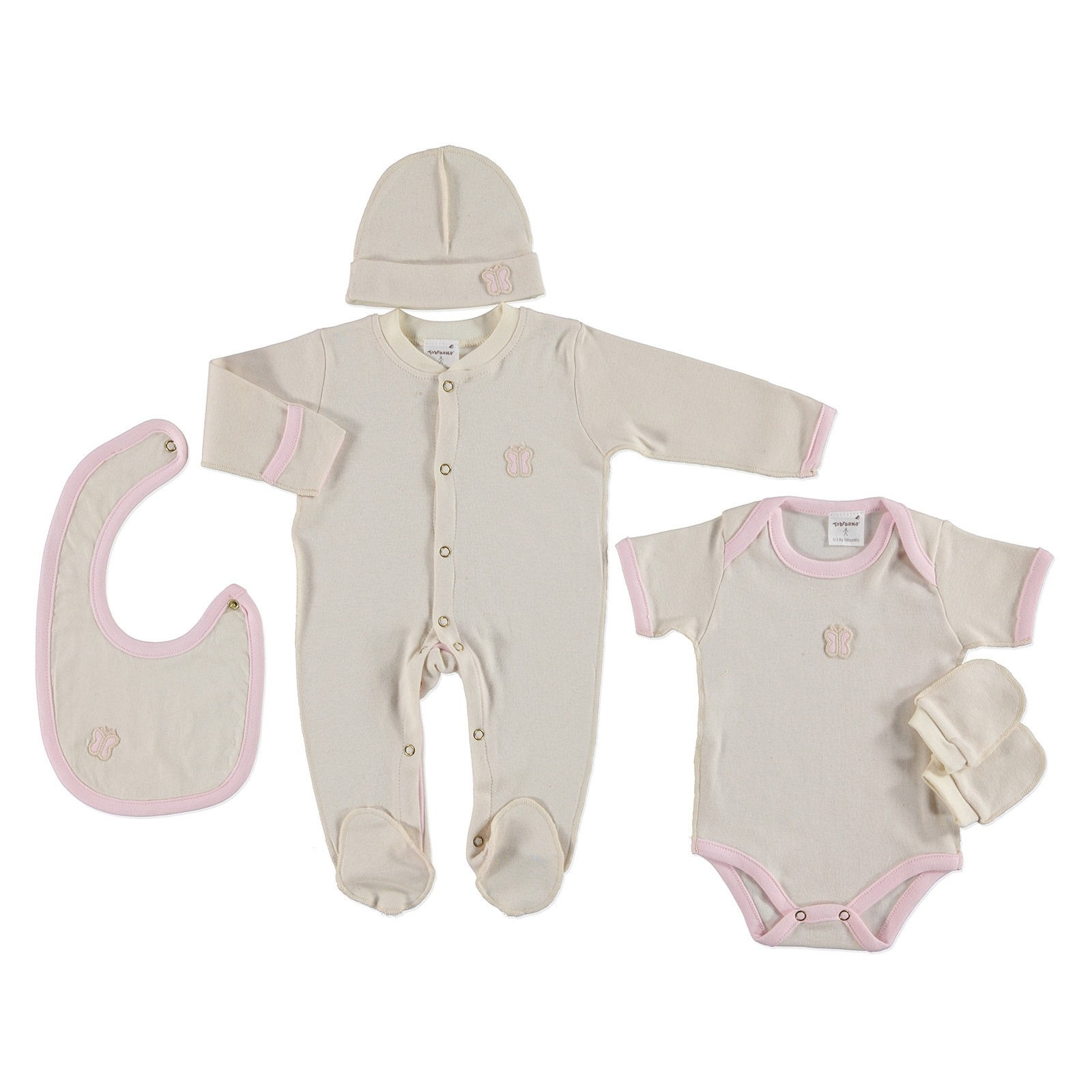 Ebebek TobraAna Newborn Baby Nev Series Organic Long Sleeve Footed Hospital Pack 5 Pcs