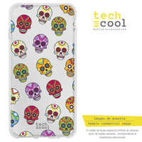 FunnyTech®Silicone Case for Samsung Galaxy A50 L Skulls colors transparent