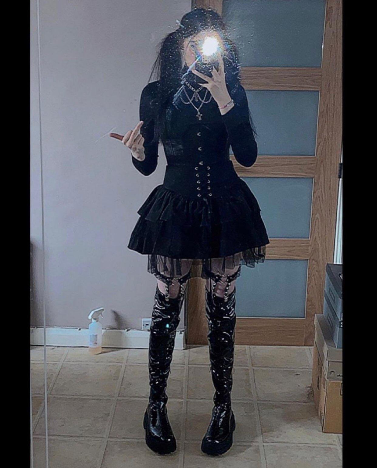 Egirl Gothic Lace Up Mini Skirt photo review