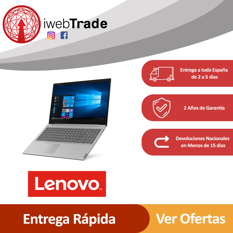 "Portatil Notebook Lenovo Ideapad S145 15,6"" 8 GB RAM 512 GB SSD Gris IWebTrade A9-9425"