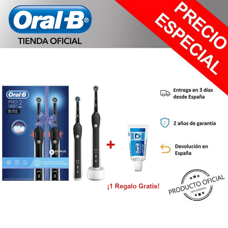 Oral-B PRO 2 2900 Pack 2 Electric rechargeable Clipper sets Black, PROFESSIONAL timer + Gift toothpaste image