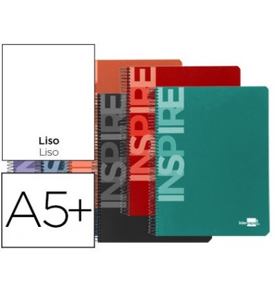 SPIRAL NOTEBOOK LIDERPAPEL QUARTER INSPIRE HARDCOVER 80H 60 GR PLAIN COLORS ASSORTED 10 Units