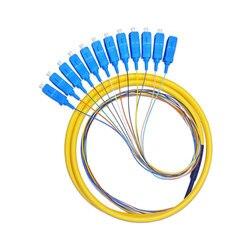 5 pçs/lote 12 strand 9/125 trança de fibra óptica 1.5m sc/upc único modo, 12 trança de fibra