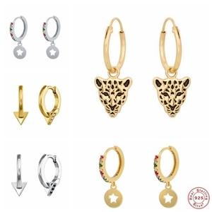 Genuine 925 Sterling Silver Trendy Black Panther Punk Huggies Drop Earrings For Women Couple Anniversary Wedding Earring Jewelry