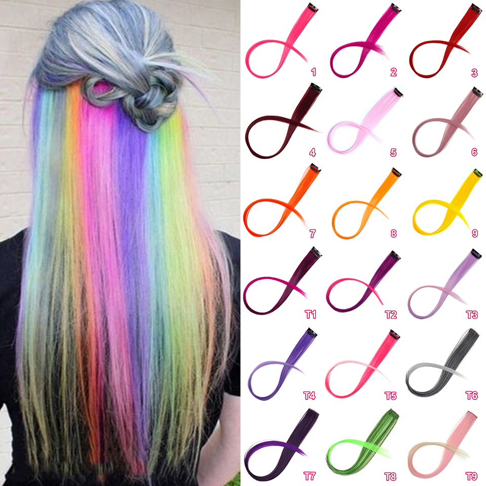 Stamped Glorious Clip-In One Piece For Hair Extensions Pure Color Long Straight Synthetic Hair Fake Hair Pieces Clip
