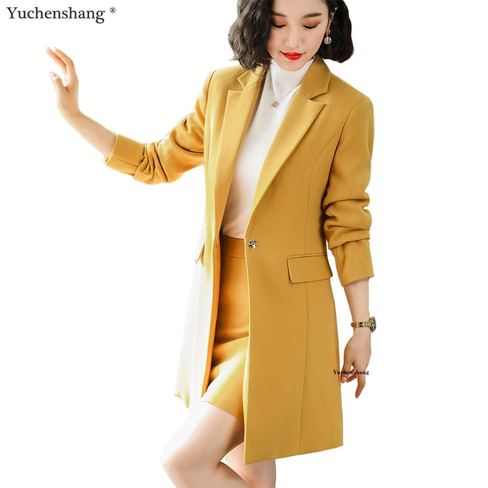 2019 New Fall Winter Women Long Blazer Elegant Long Sleeve Formal Jackets Green Red Yellow Apricot Blue Coat