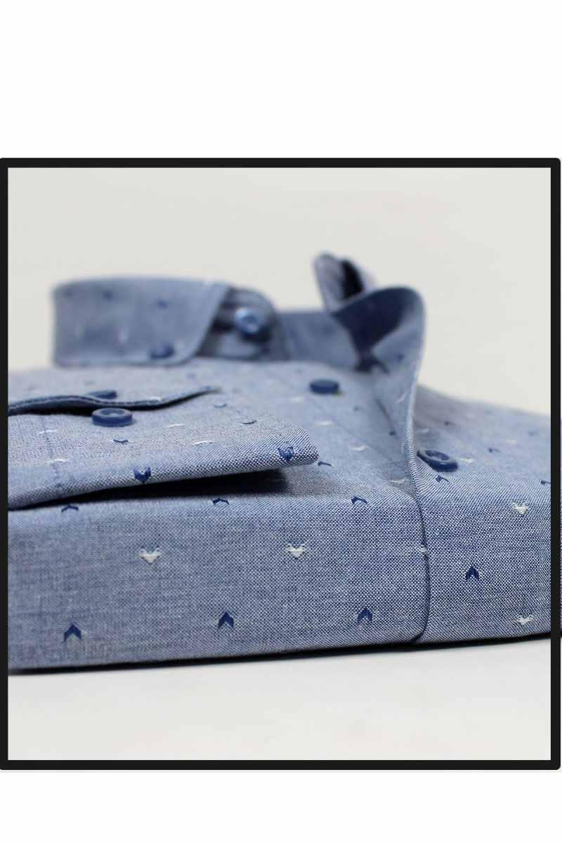 Varetta 男性ファッションプリントシャツ長袖シャツメンズカジュアルシャツラペル襟カジュアルシャツトップス新ブルーポケットシャツ男性トップ製トルコ男性社会ビジネスドレスシャツブランド男性服ソフトで快適な