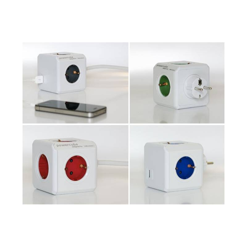 Power Cube 4 Sockets + Lengthen + USB Charger (gray)-As Seen On TV