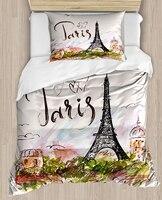 آخر باريس برج ايفل الأخضر الأزهار Writen 4 قطعة ثلاثية الأبعاد طباعة قطن حرير واحد لحاف لتغطية الفراش مجموعة كيس وسادة غطاء سرير|غطاء اللحاف|   -
