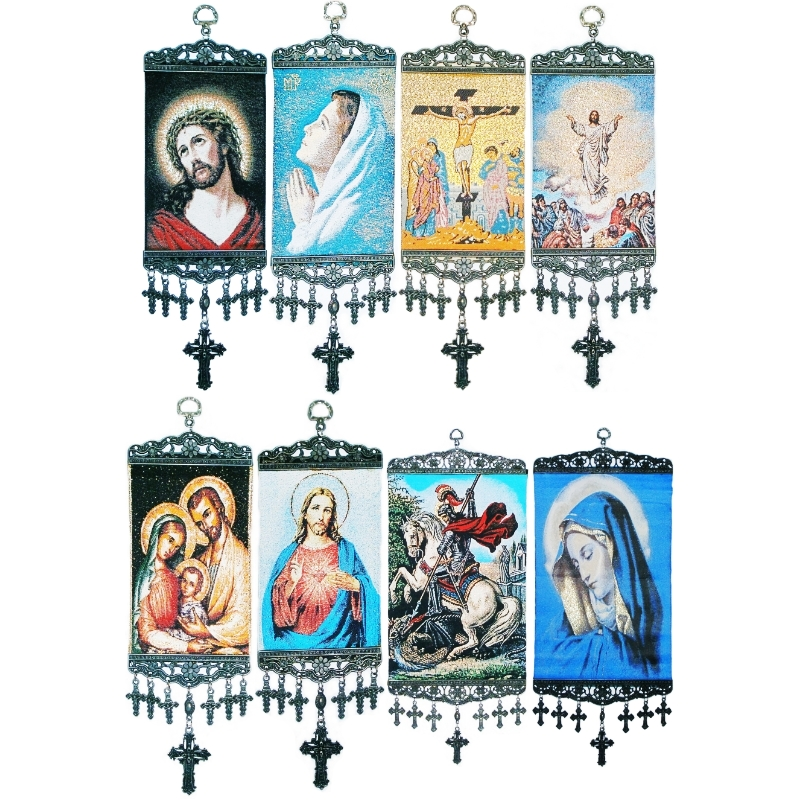 Jesus Madonna Christian İcon Woven Religious Tapestry Wall Hanging