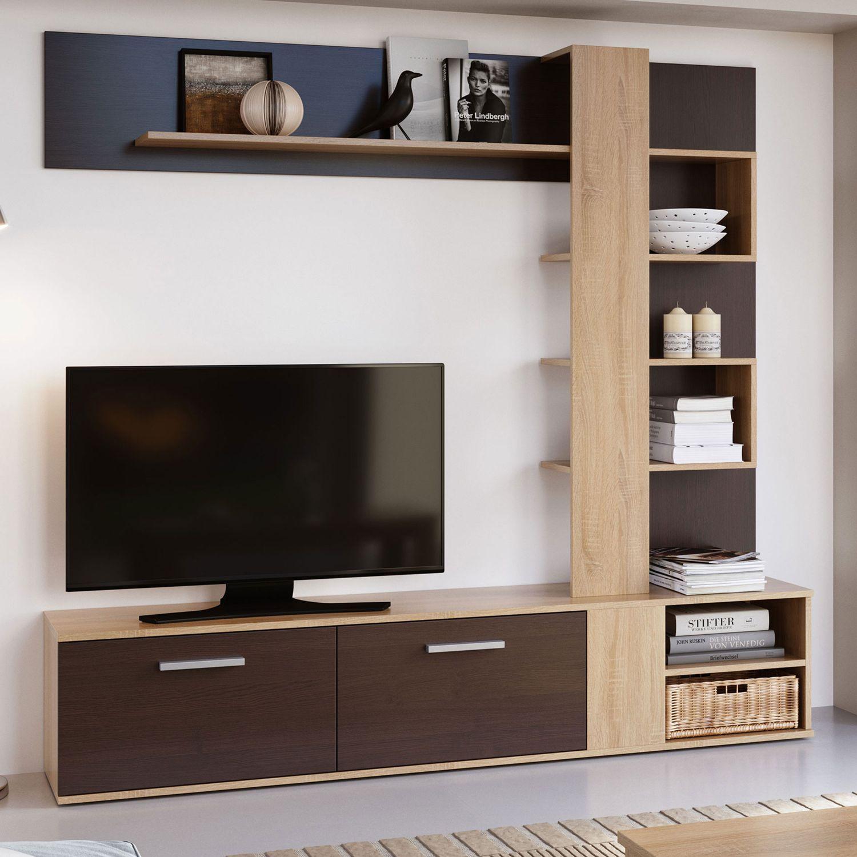 Mueble De Salón Completo, Color Sonoma Y Wengue, Muebles De TV, Apilables Ref-151