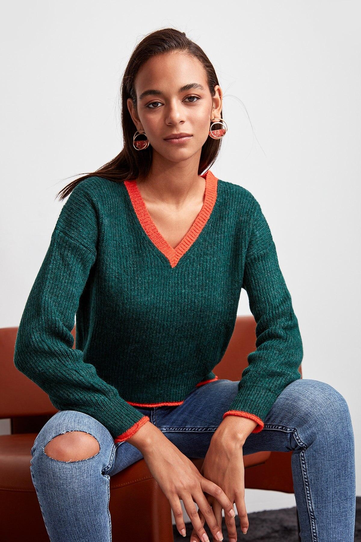 Trendyol Women Sweater With Ribbon Green Bias Tape Detailed Pollovers  TWOAW20ZA0025