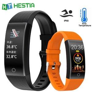 Image 1 - 2020 Body Temperature Smart Bracelet IP68 Waterproof Heart Rate Monitor Smartband Fitness Health Tracker Wristband Band Sports