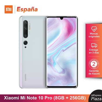 Купить Xiaomi Mi Note 10 Pro (256 ГБ ROM, 8 Гб RAM, cаmara 108 MP, Android, Nuevo, Libre) [telefono Movil Versión Global para España]