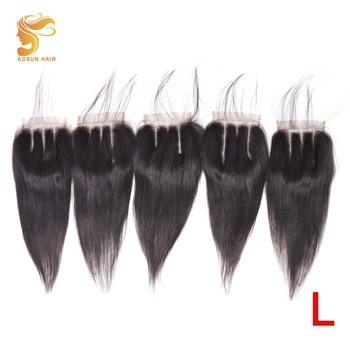 AOSUN волосы бразильские прямые волосы закрытие три части Кружева Закрытие 4x4 ручной вязки Remy человеческие волосы для наращивания оптовая про