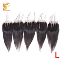 AOSUN HAIR Brazilian Straight Hair Closure Three Part Lace Closure 4x4 Hand Tied Remy Human Hair Extension Wholesale Deals