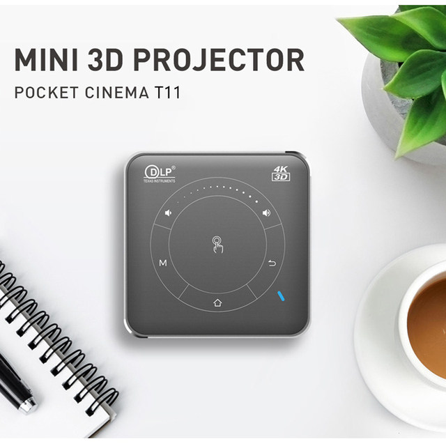WZATCO T11 Portable Mini DLP 3D Projector HD Android 9.0 For Full 1080P 6