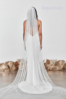 High Quality Soft 1 Layer Cathedral Wedding Veils Pearls Tulle Bridal Veil with Comb Wedding Accessories White & Ivory