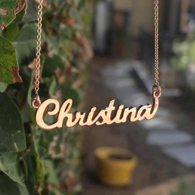 カスタム名のネックレスステンレス鋼パーソナライズゴールドチェーンゴスチョーカーペンダントネックレス銘板ドロップジュエリーギフト