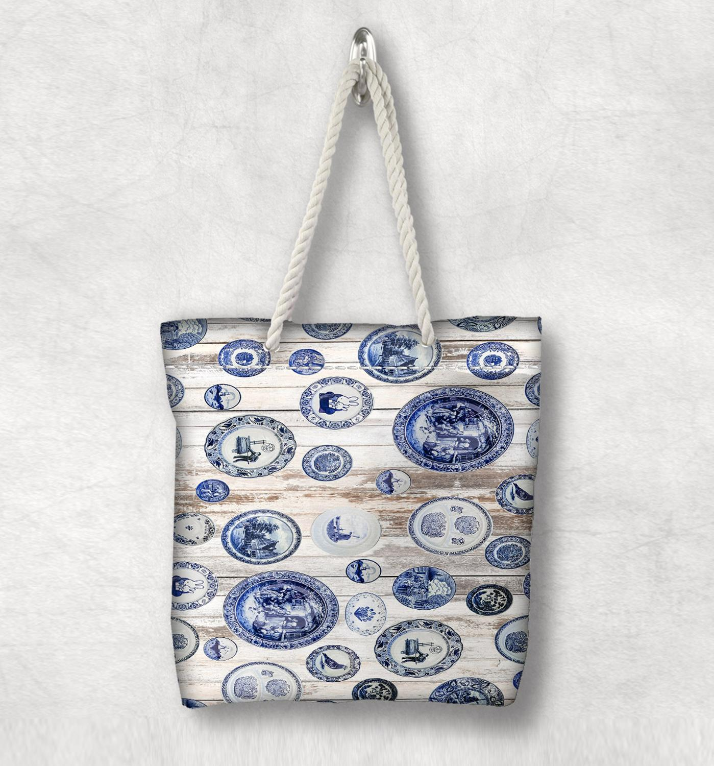 Else Blue Vintage England Ethnic New Fashion White Rope Handle Canvas Bag Cotton Canvas Zippered Tote Bag Shoulder Bag