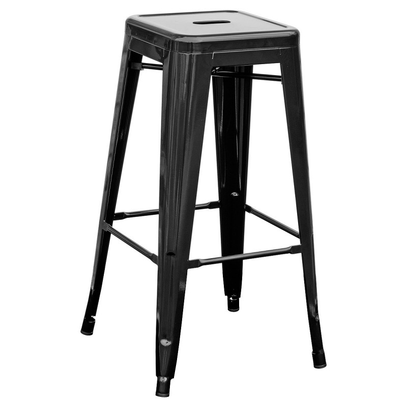 Barroom Stool Fixed Manufactured Fully Steel Black Color. Include Footrest In The Structure. PIQUERAS And CRESP