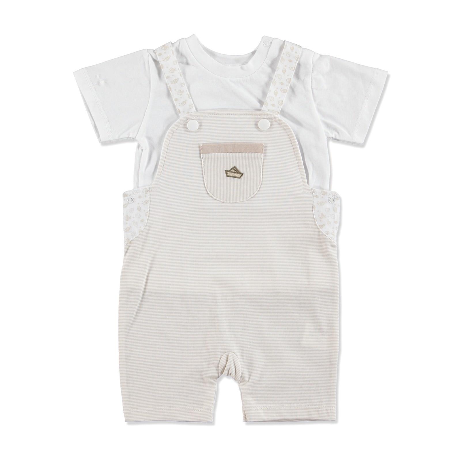 Ebebek HelloBaby Summer Baby The Best Sailor Dungarees T-shirt Set