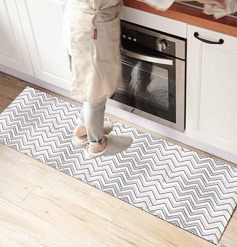 Else Gray White Zigzag Geometric Scandinavi 3d Print Non Slip Microfiber Kitchen Counter Modern Decorative Washable Area Rug Mat