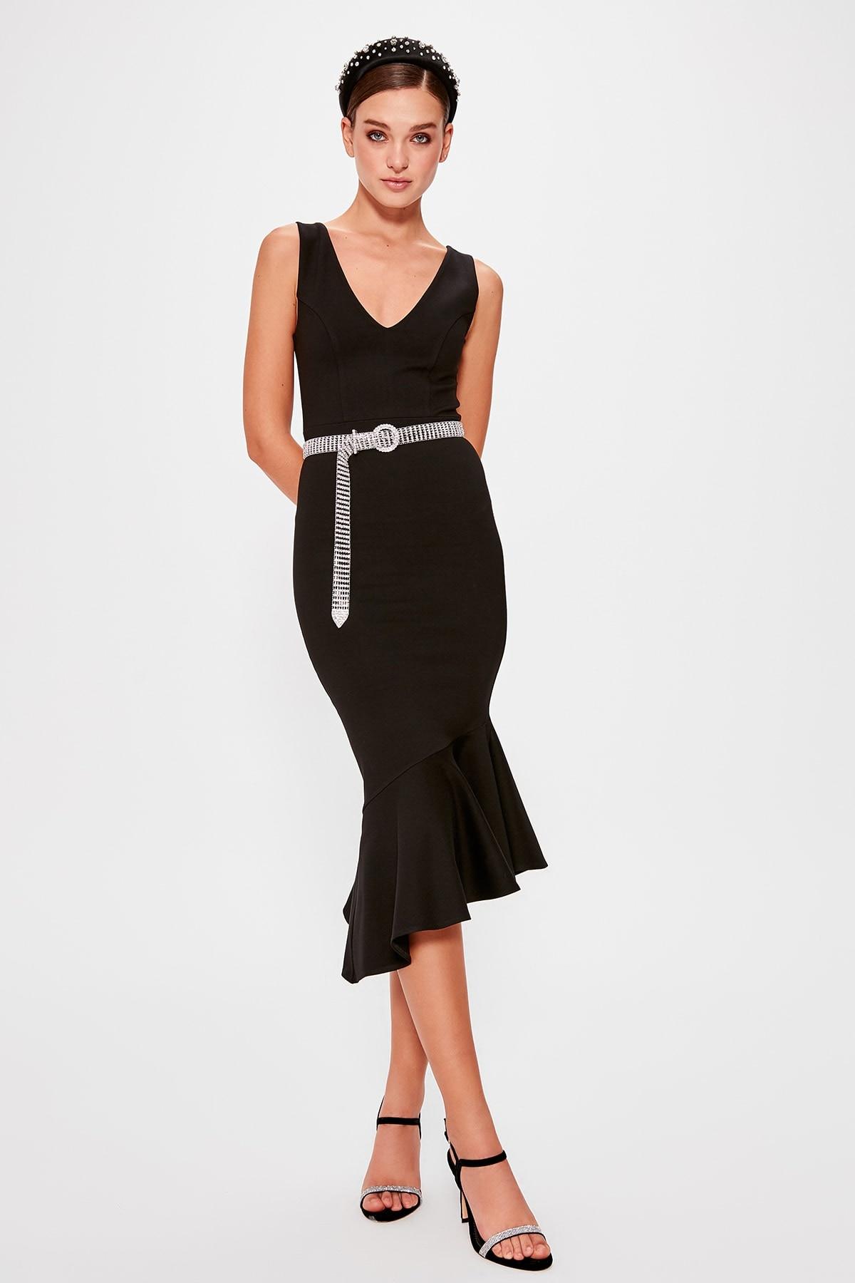 A Size İncelin Trendyol Flounces Dress TPRAW20EL0649