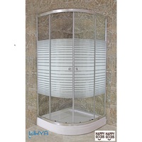 SUPER SET Bathroom Shower Roller Panel Cabin Cabinet Room Corner Shower Enclosure + Base FULL SET Chrome Finish Wall Mounted HG2