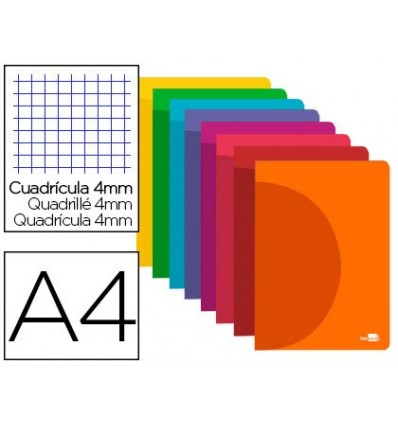 BOOK LIDERPAPEL 360 PLASTIC LID A4 48 SHEETS 90G/M2 TABLE 4MM WITH MARGIN COLORS ASSORTED 8 Units