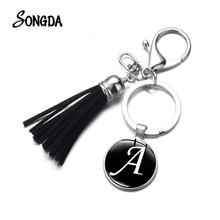 A-Z Initial Alphabet Time Gem Tassel Keychain Couple Key Chain Bag Charm Key Ring Holder Car Accessories Fashion Jewelry Unisex