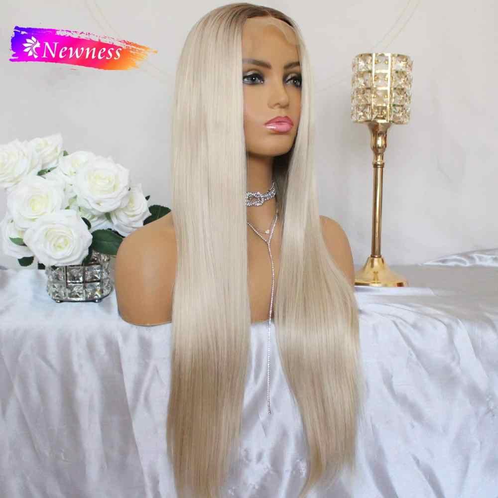 Newness ombre loira glueless 13x4 perucas da parte dianteira do laço dois tons cor longa natural reta resistente ao calor do cabelo sintético