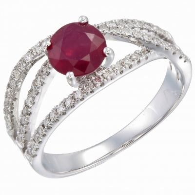 Sargon Jewelry Ruby Diamond Ring In White Gold