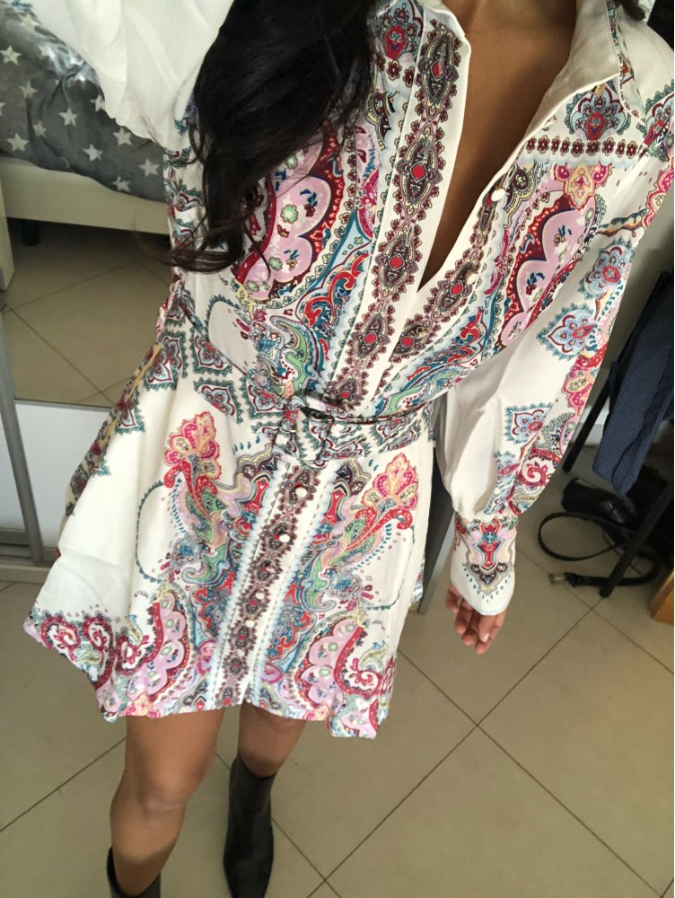 Vintage Floral Print Lantern Long Sleeve Mini Dresses Female Match Belt Waisted Autumn Clothes For Women Fashion photo review