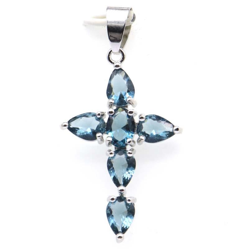 42x22mm Classic Long Cross Created London Blue Topaz Tanzanite Pink Morganite Gift Silver Pendant