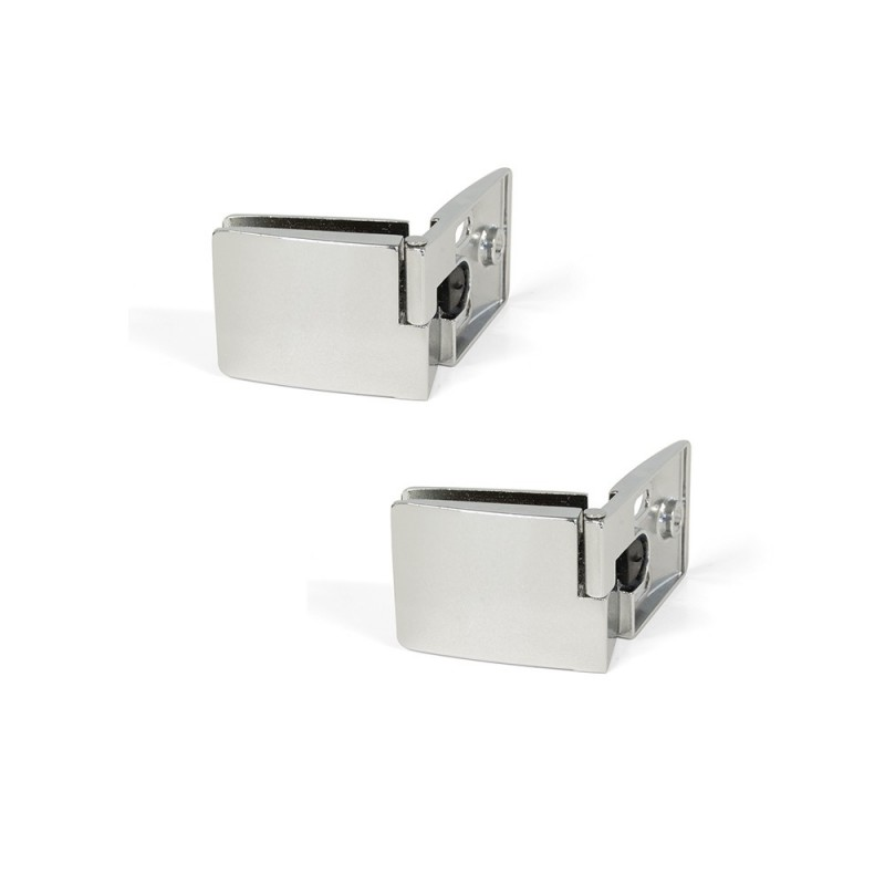 Lot Of 2 Hinges Emuca For Glass Doors Inner Central In Chrome Finish Brightness