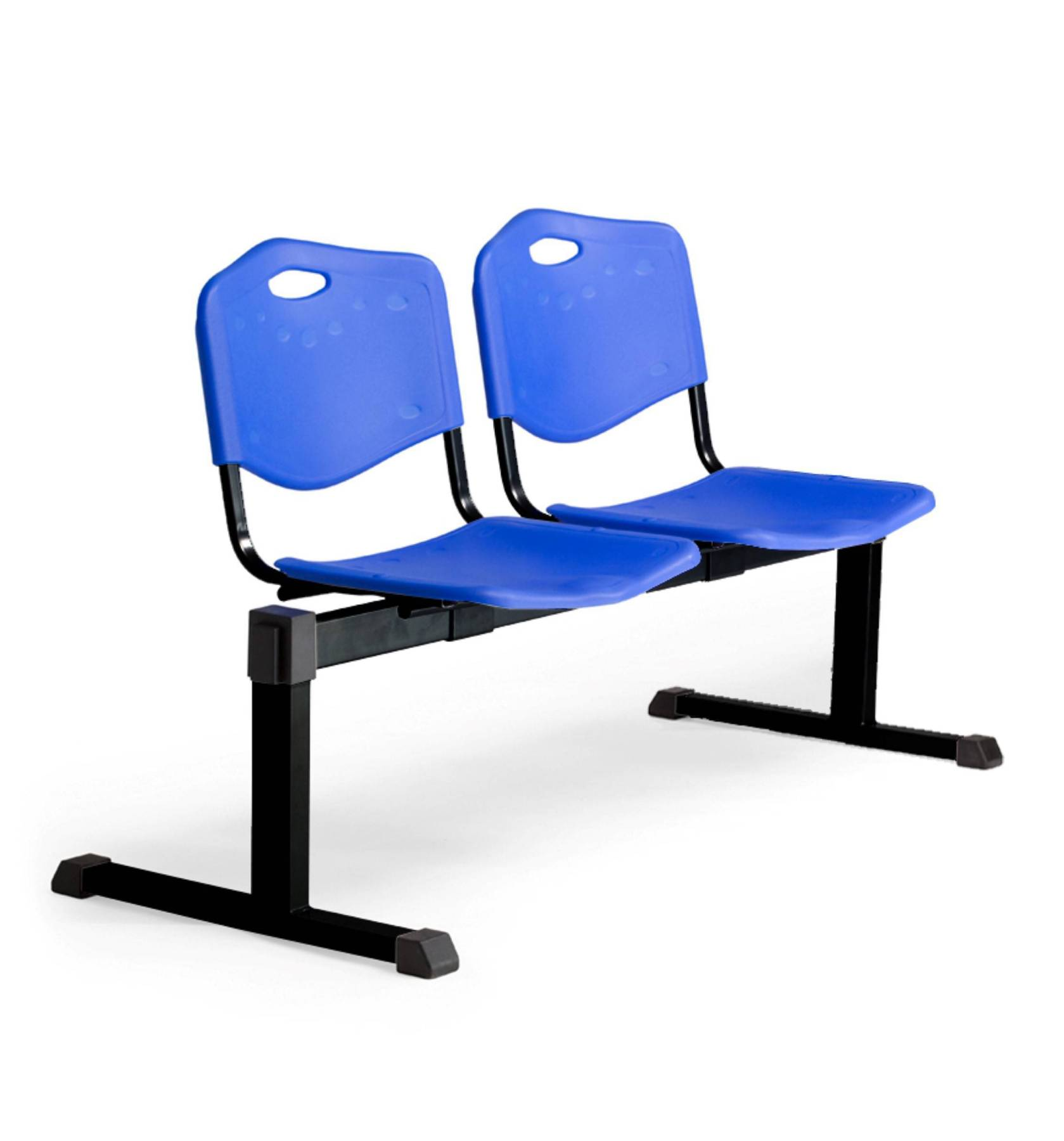 Bench Waiting Two Seater And Iron In Color Black-up Seat And Backstop's Structure In PVC Color Blue Taphole And