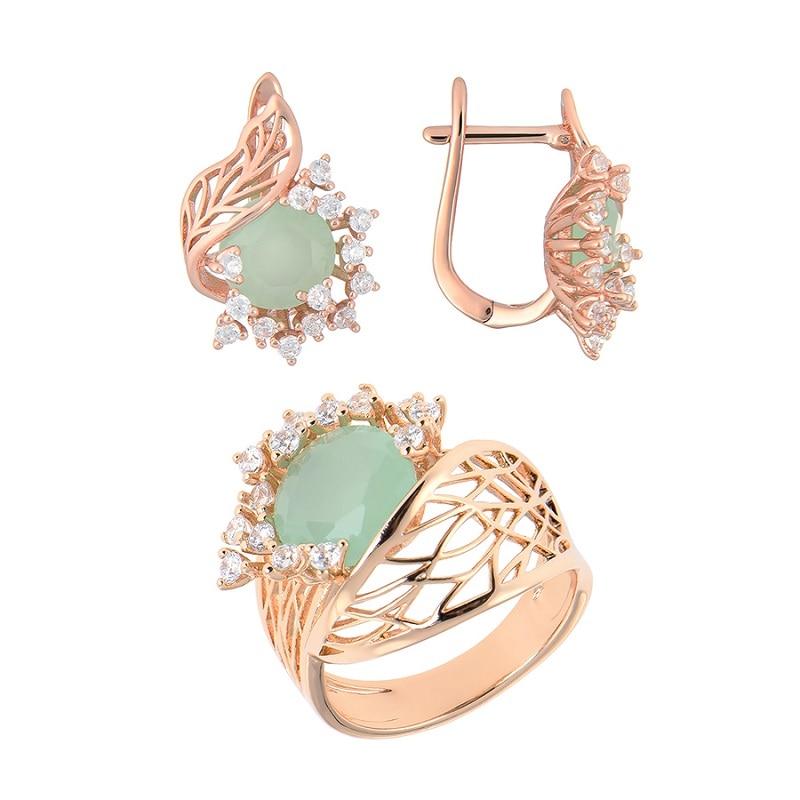 Bijoux de luxe qsy ensembles pour femmes. Belles boucles d'oreilles femme avec pierres. Bague large avec fleur zircon vert - 2