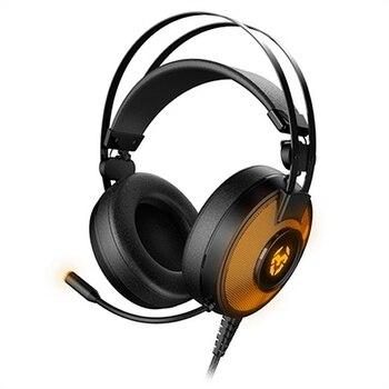 Gaming Earpiece with Microphone Krom Kayle USB Black Orange