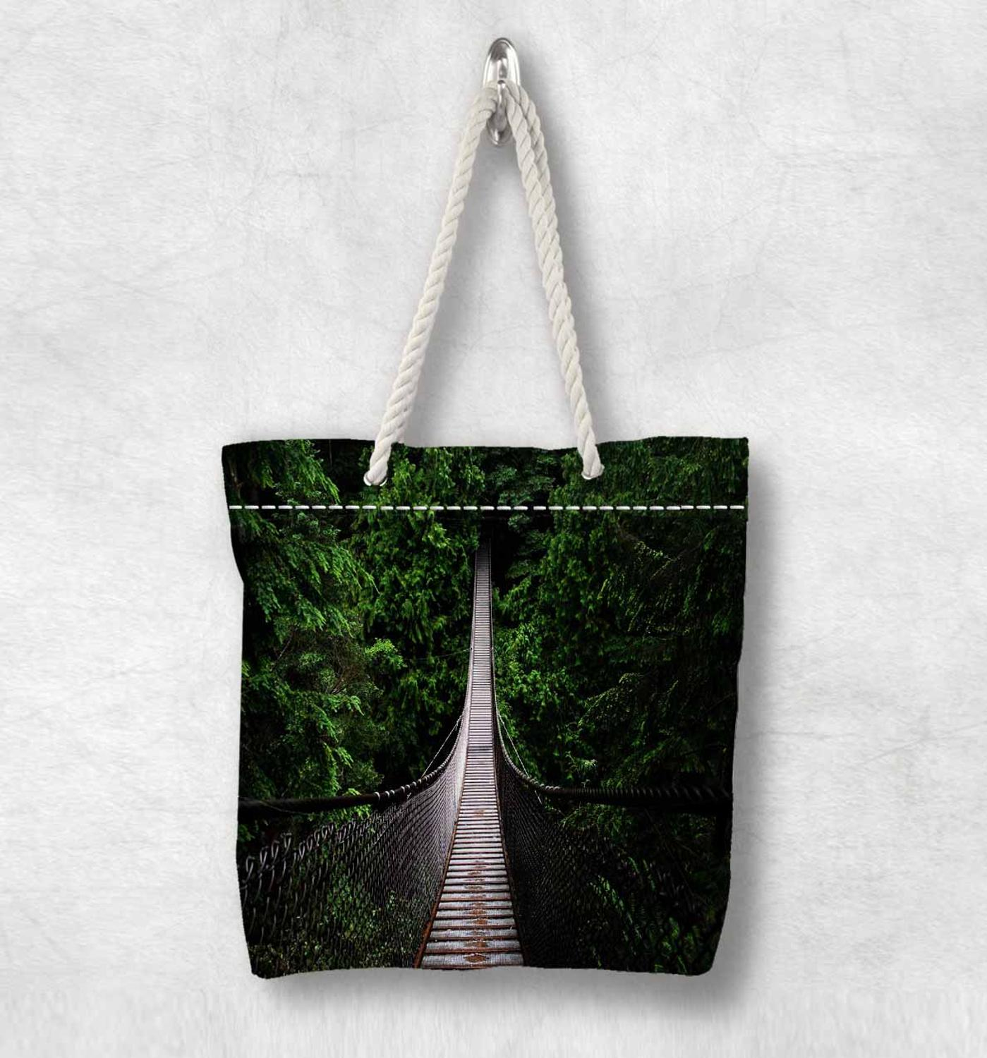 Else Green Jungle Trees On Wood Bridge New Fashion White Rope Handle Canvas Bag Cotton Canvas Zippered Tote Bag Shoulder Bag