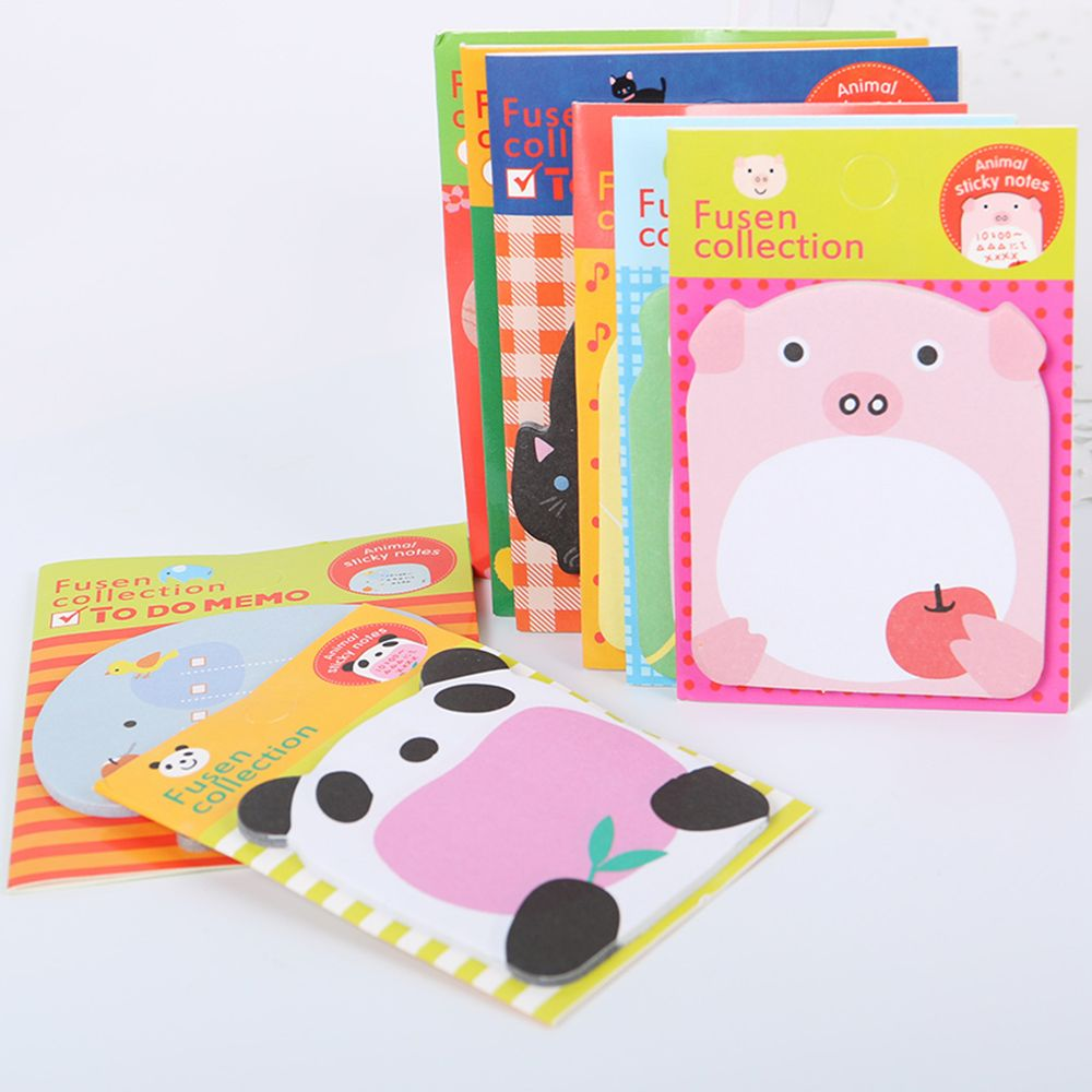 5PCS Cute Cartoon Forest Animal Memo Pad Sticky Note Page Marker Planner School Office Supply Gift For Kid Creative