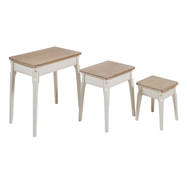 Set Of 3 Small Tables (61 X 41 X 45 Cm) Paolownia Wood