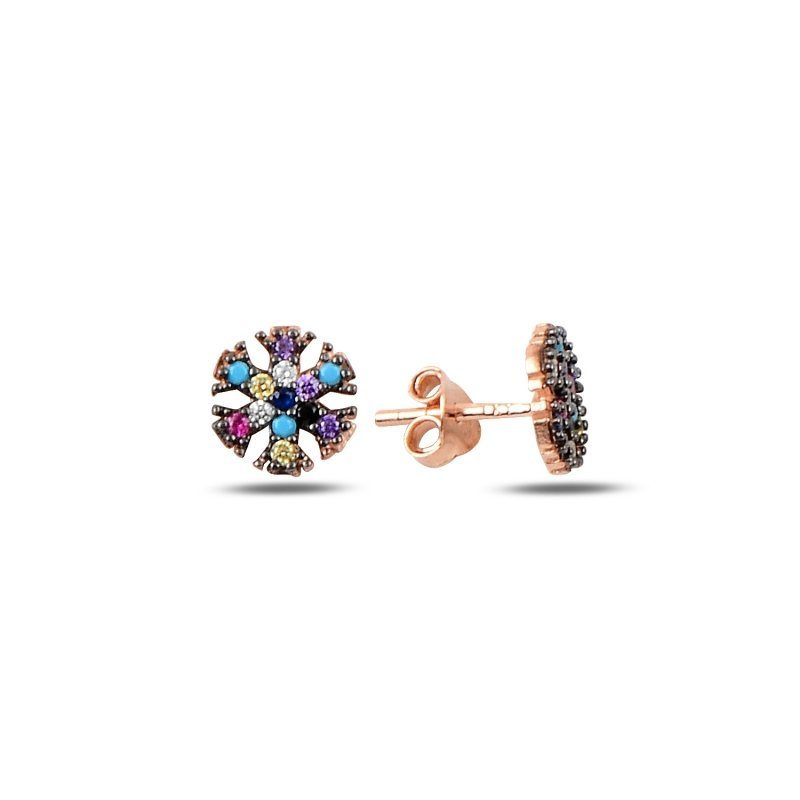 Angemiel 925 Sterling Silver Mixed Color Zircon Cubic Zirconia Snowflake Earrings-Rose Gold Plated