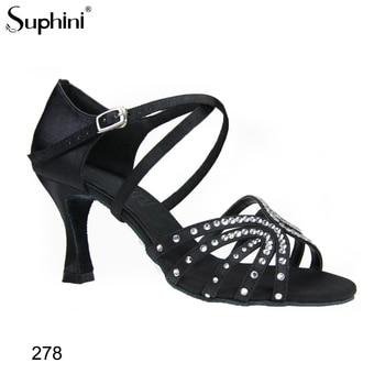 New Women's Latin Dance Shoes Ballroom Tango Ladies Girls Comfortable Satin Dancing Shoes For Women Grils Black Satin 5/7CM Heel