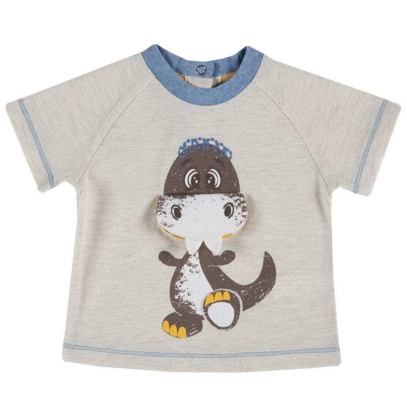 T-shirt Chicco, size 080, print динозаврик (beige) plus size letter print striped t shirt